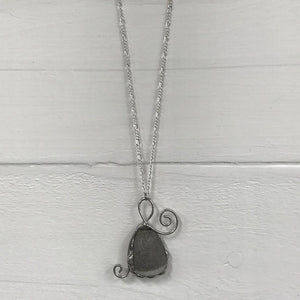 Hand Wrapped Polished Pebble Pendant Necklace