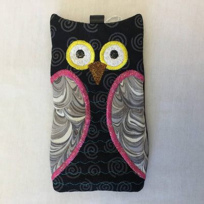 Fabric Embroidered Sunglass Case - Hooty Owl