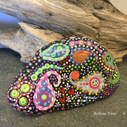 Whimsical Mandala Hand Painted Rock