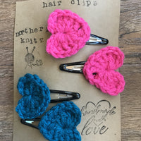 Crochet Heart Hair Clips