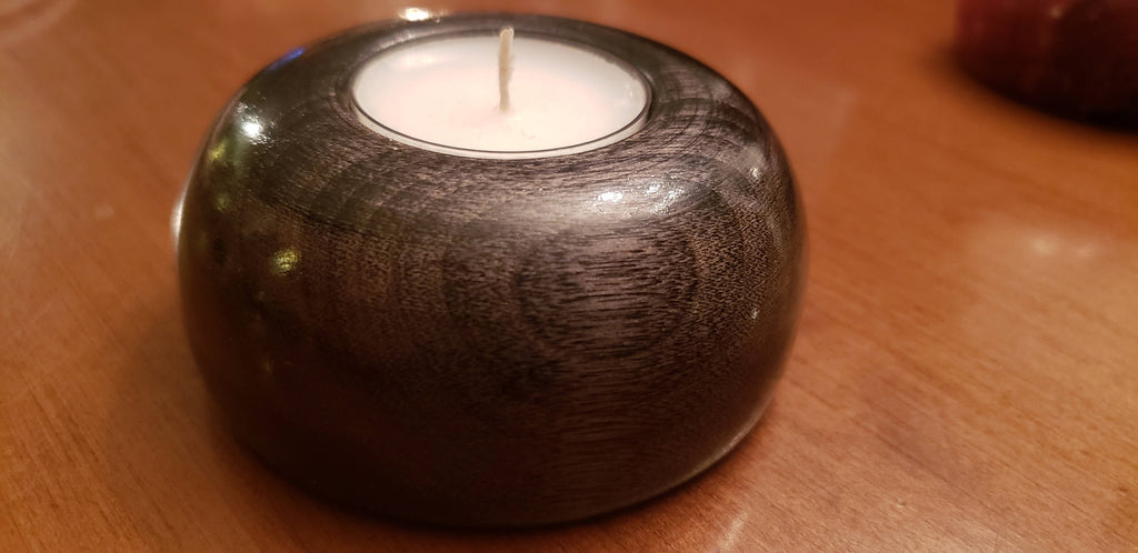 Wooden Tea Light Candle Holder - Charcoal Black