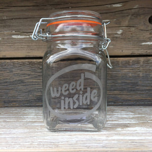 Etched Glass Stash Jar Weed Inside