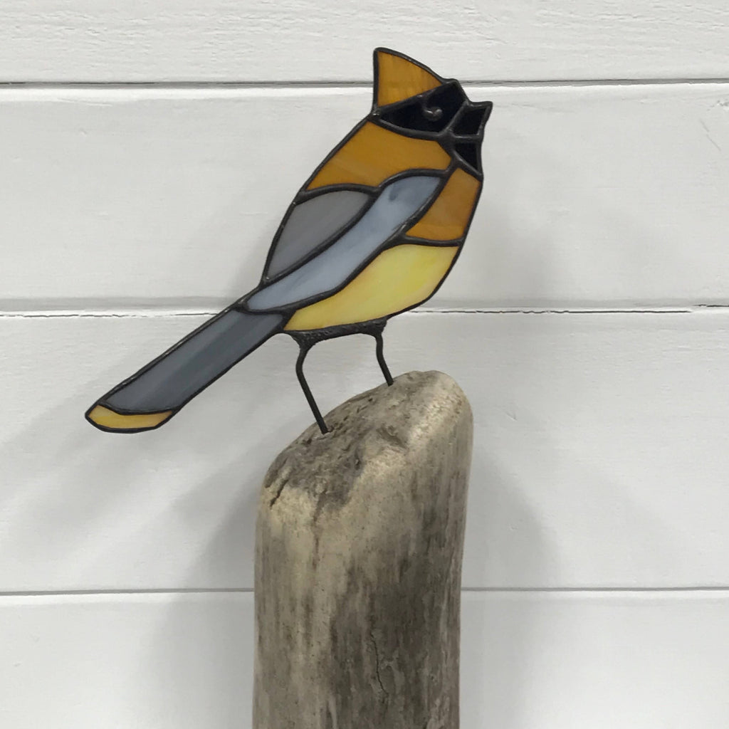 Stained Glass Bird on Driftwood - Wax Wing