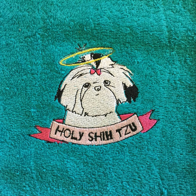 Embroidered Terry Dog Themed Hand Towels