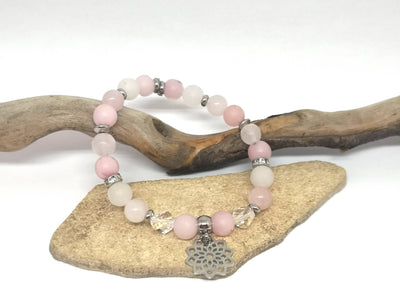 Pink & White Gemstone Bracelet with Flower Charm