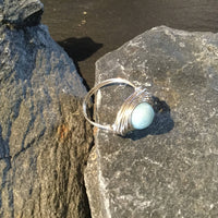 Amazonite Natural Gemstone Hand Twisted Sterling Silver Ring Size 9