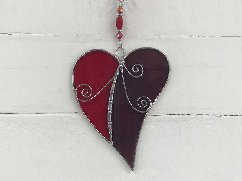 Stained Glass Red & Burgundy Heart Suncatcher