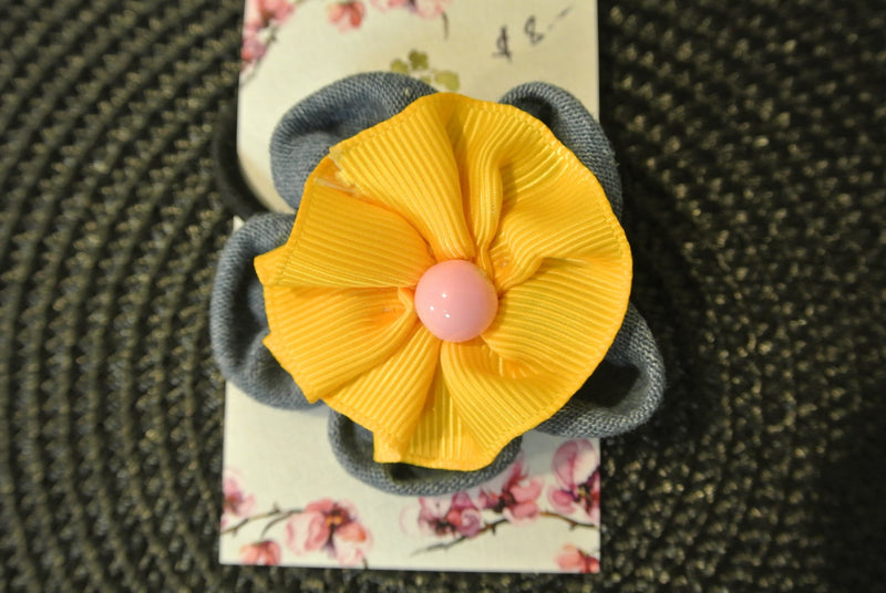 Blue & Yellow Denim Flower Hair Elastic with Pink Bead