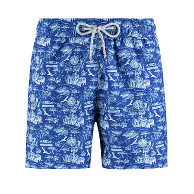 Botanical-Trails-ElephantGin-Exclusive-Blue-Travel-Swimshorts-Front