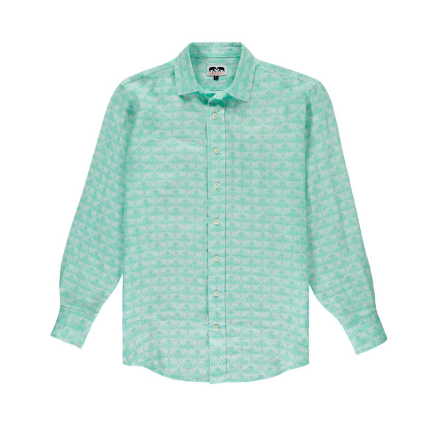 elephant-dance-mint-printed-linen-shirt-mens-front