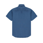 Manjack-Mens-Shirt-Short-Sleeve-Chambray-Blue-Back