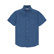 Manjack-Mens-Shirt-Short-Sleeve-Chambray-Blue-Front