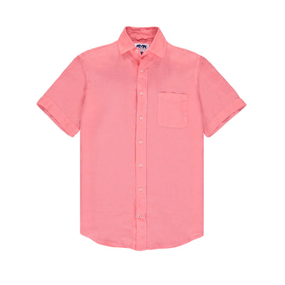 Manjack-Watermelon-Mens-Short-Sleeve-Linen-Shirt-Pink-Front