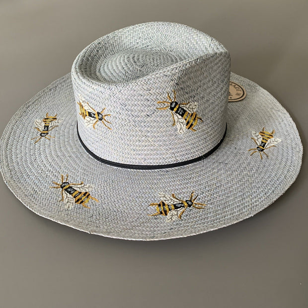 Pook-hats-Bees-on-blue-hat-hand-painted-mexico-artisan
