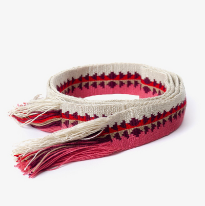 Womens Belt - Thicker Pink/Red/Beige With Fringe