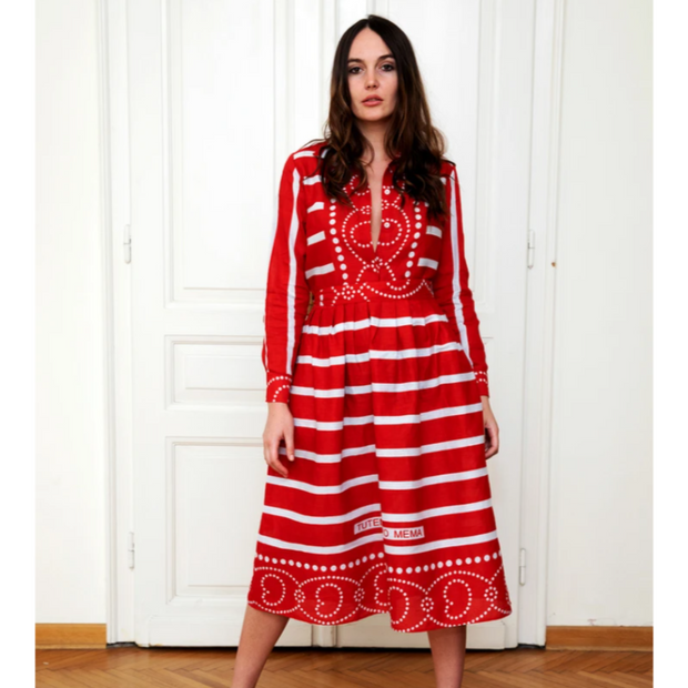 Penzi Dress (Red and whtie)