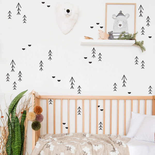 woodland nursery wall pattern wall decals in black