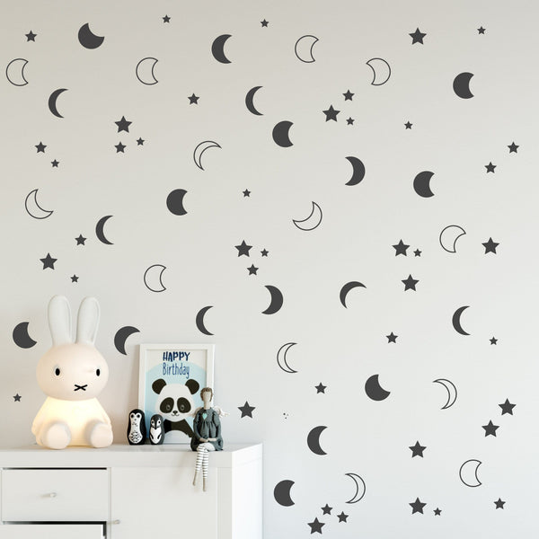 Crescent moon wall decals set