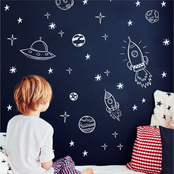 Outer space wall decals set