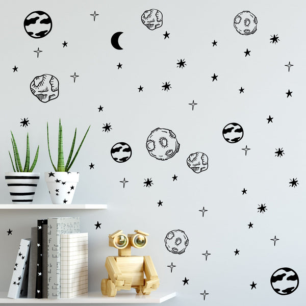 Planet wall decals set