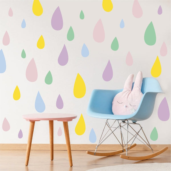 Pastel raindrop wall stickers in mixed sizes