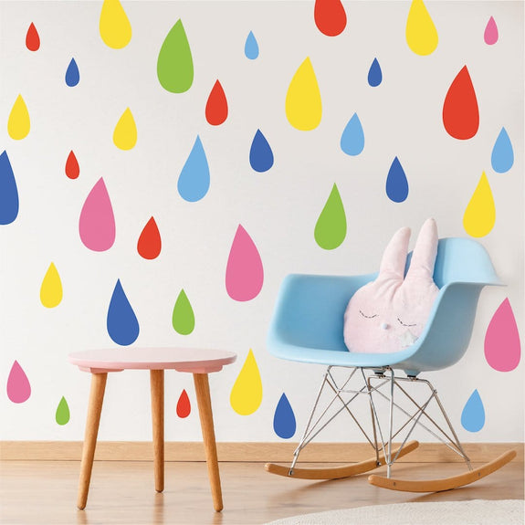 Rainbow raindrop wall stickers in mixed sizes