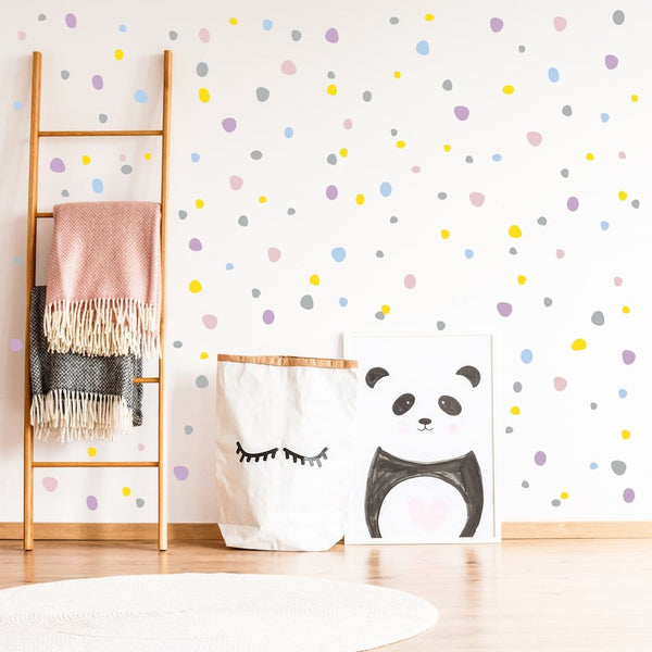 Pastel hand drawn polka dot wall stickers
