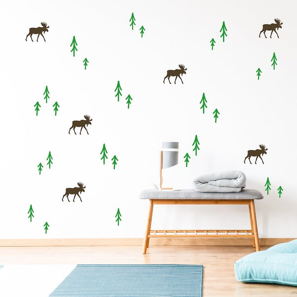 Forest wall decals with moose and trees