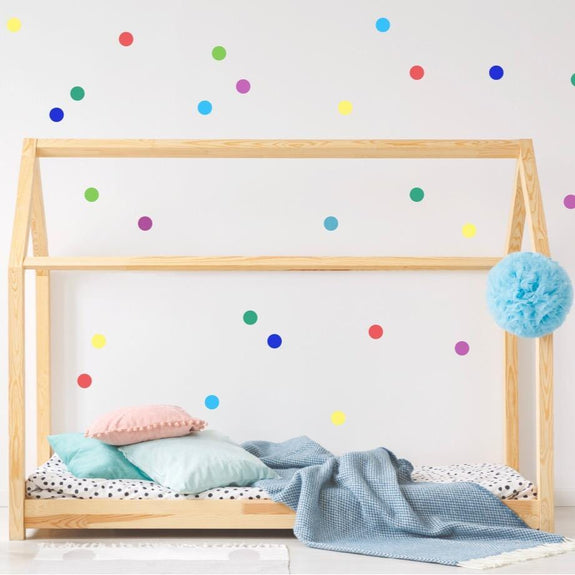 Rainbow confetti dots wall stickers