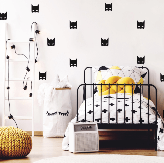 black batman wall stickers in a monochrome kids' bedroom