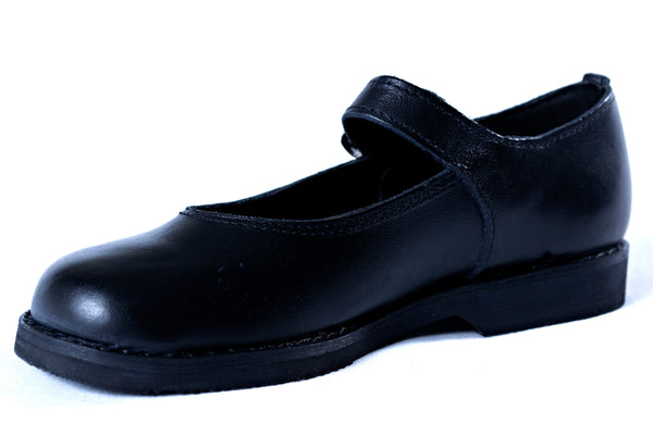 Buckle up leather school shoes