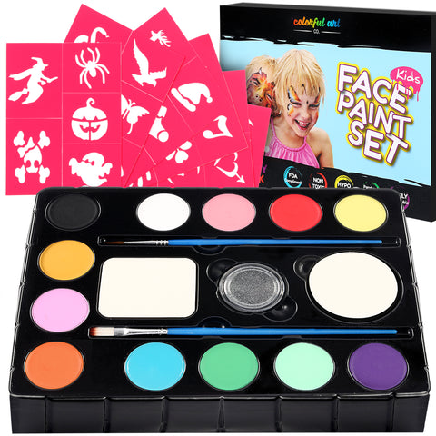 Face Paint Kit For Kids - includes 30 Popular Stencils A carefully selected vibrant color Palette, Glitter, Brushes & sponges.