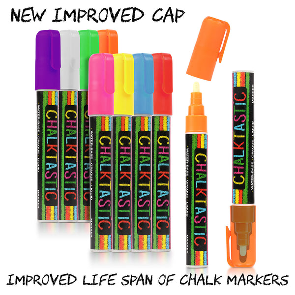 ChalkTastic Chalk Markers Best for Kids Art, Chalkboard Labels, Menu Board Bistro Boards, 8 Erasable Glass Window Markers, Liquid Pens With Reversible Chisel or Fine Tip, Neon Colors plus White - ChalkTastic.net