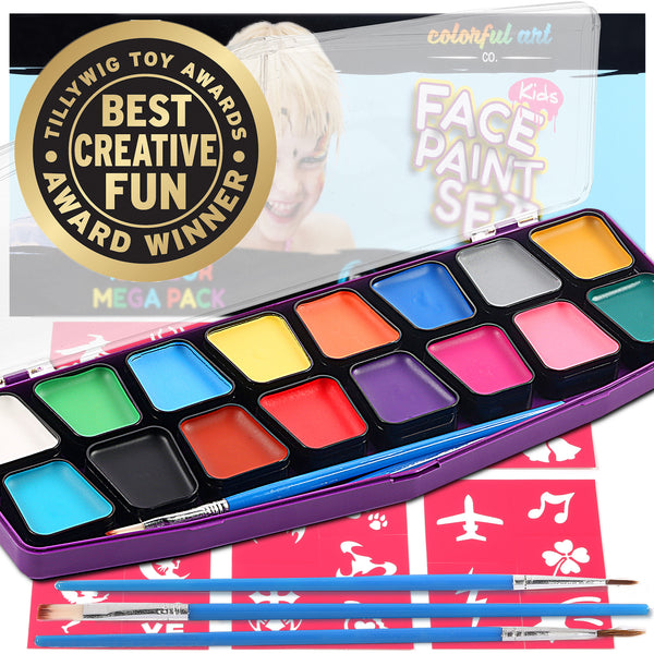 Professional Face Paint Kit For Kids – MEGA 16 Color Palette – 30 Stencils - face paint brushes - ChalkTastic.net