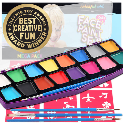 Professional Face Paint Kit For Kids – MEGA 16 Color Palette – 30 Stencils - face paint brushes