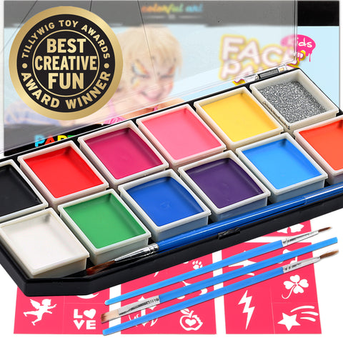 Face Paint Kit For Kids 12 Vibrant Color Mega Size Palette 3 Brushes Glitter Gel - Stencils & Durable Case