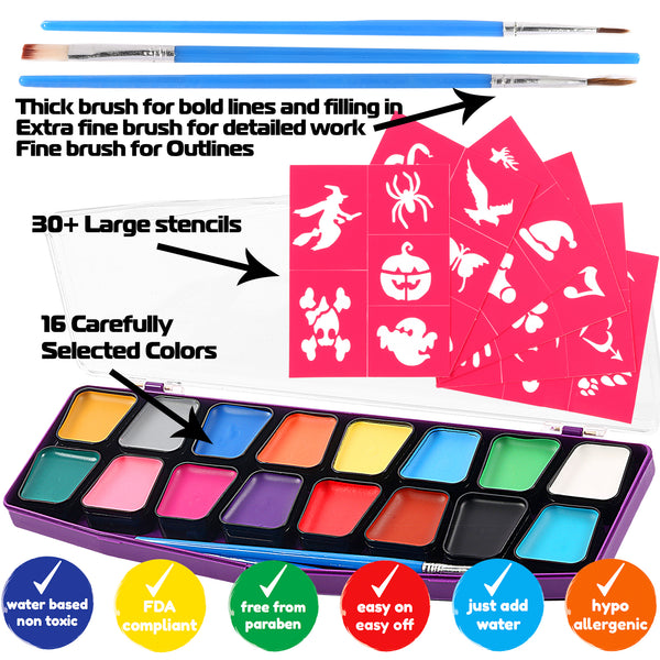 Face Paint Kit For Kids 12 Vibrant Color Mega Size Palette 3 Brushes Glitter Gel - Stencils & Durable Case - ChalkTastic.net