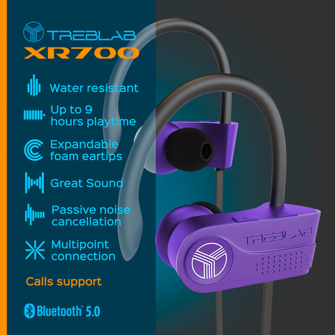 Black TREBLAB XR700 wireless earphones
