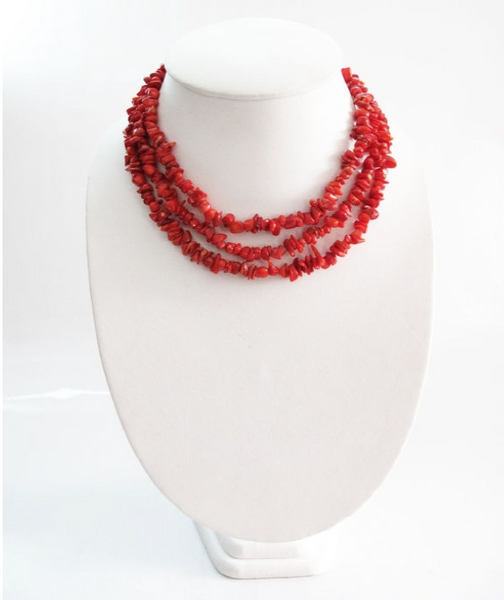 Coral Stone Collar Necklace