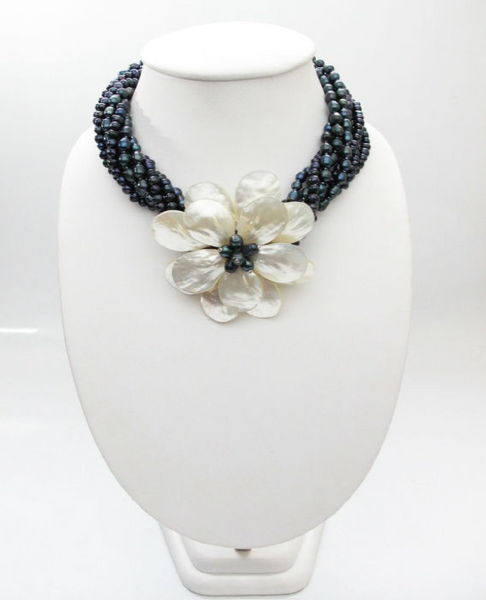 Beautiful Freshwater Pearls with Single Floral Shell Design