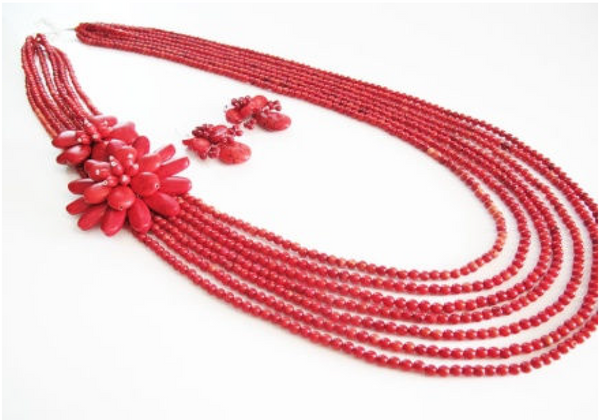 Red Howlite Stone Necklace (with Earrings)