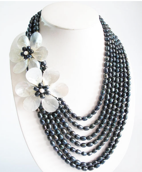 Double Floral Mother of Pearls with 7-tiered Multi-Layer Freshwater Pearls