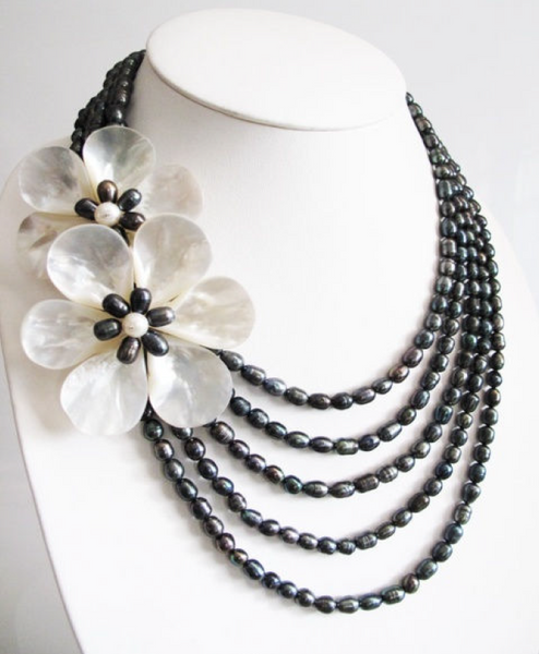 Double Floral Mother of Pearls with Multi-Layer Freshwater Pearls