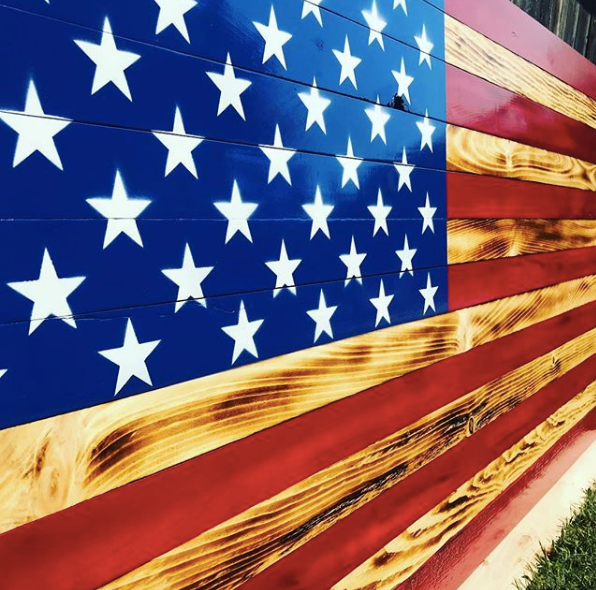 U.S.A. Hand Made Wooden Toasted American Flag