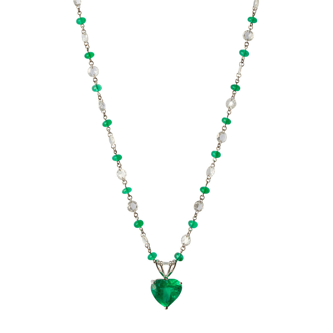 Emerald heart pendant diamond necklace chantal diamonds chantal diamonds emerald heart pendant and diamond necklace aloadofball Images