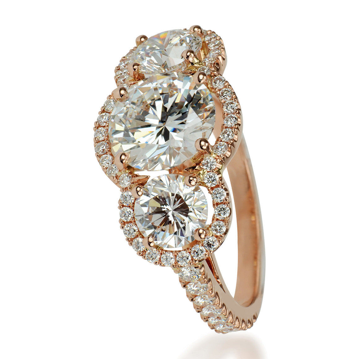 18ct Rose Gold Micro Set 3 Stone Diamond Ring 255cts Chantal Diamonds