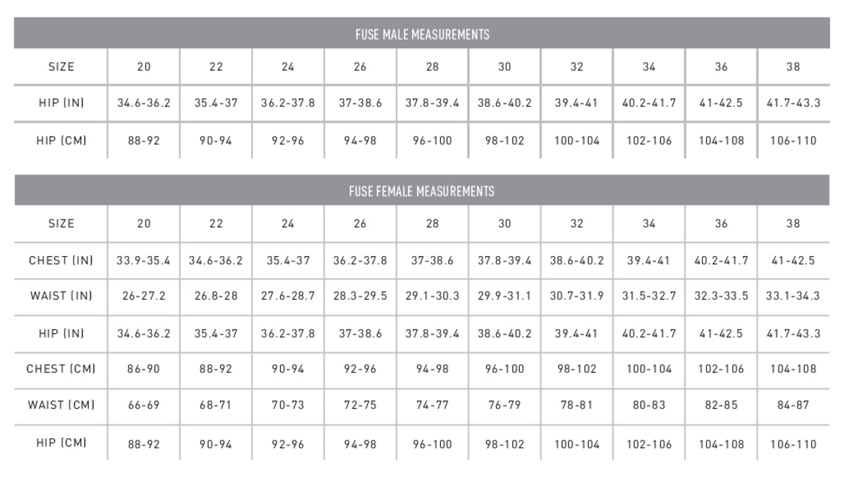 FINIS FUSE SIZE CHART