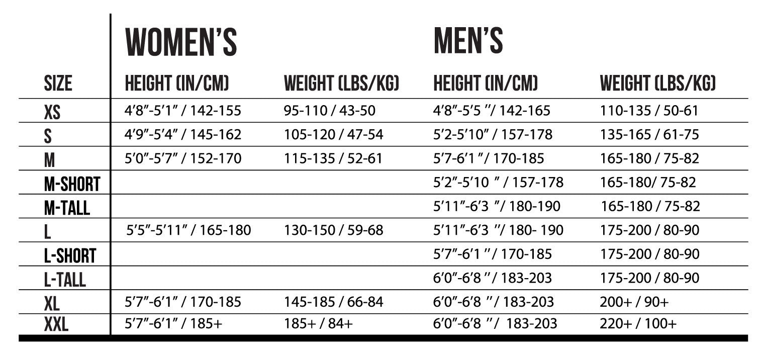 Rocket Science Sports Size Chart