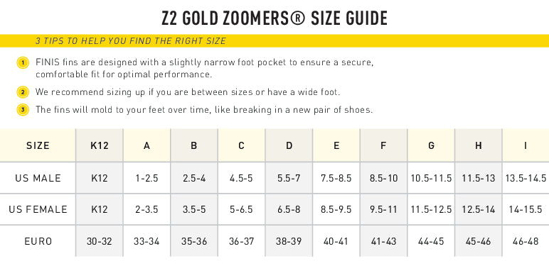 Z2 Zoomers Gold Size Chart