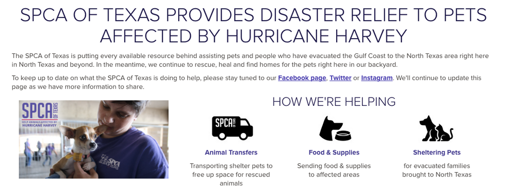 SPCA Texas Hurricane Harvey Relief Fund